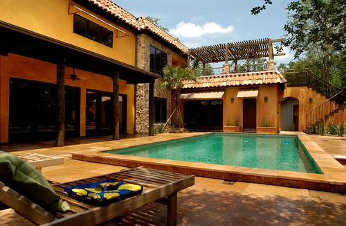 Mediterranean pool installation.