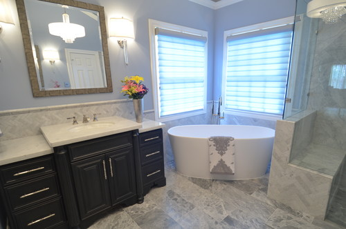 Transitional bathroom remodel.