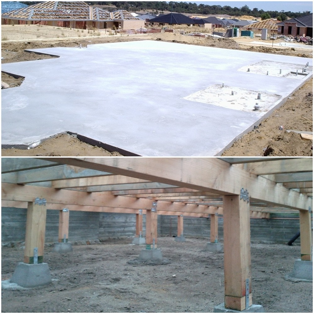 Slab and pier & beam foundation types for houses.