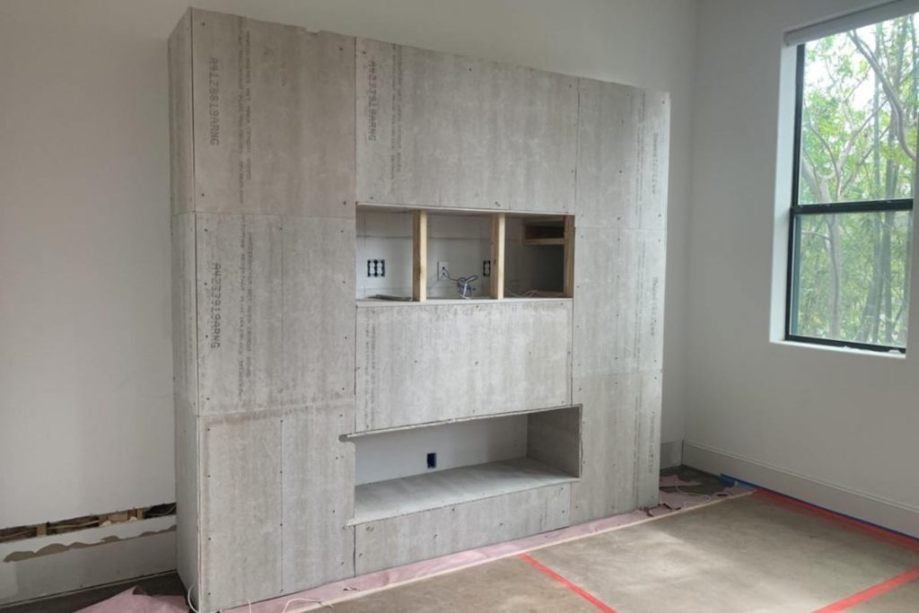 Banks - entertainment center with Durock cement board