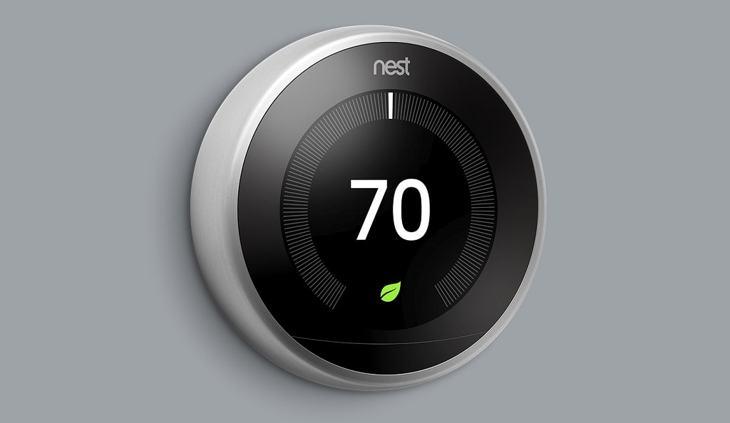 Nest smart thermostat set to 70 degrees