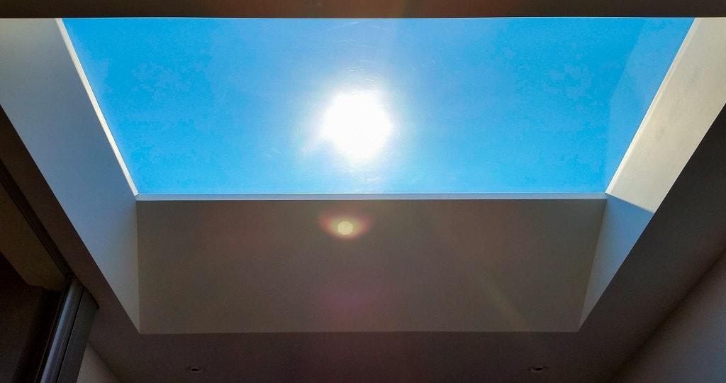 Skylight with sun shining in