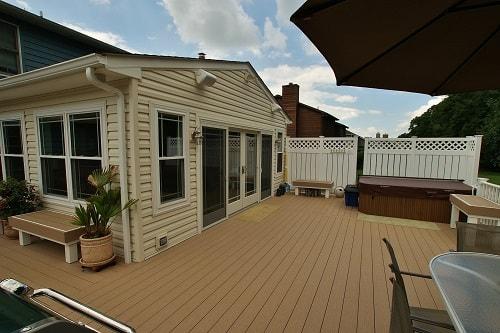 Sunroom adjacent to outdoor deck